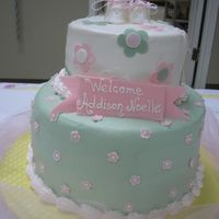 Thank Heaven For Lil' Girls This is for my brother and sis-in-law's baby shower. 6 in. and 10 in. champagne cake with buttercream icing. I based the design on the...