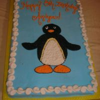 Pingu 1/2 sheet, Pingu, french vanilla with buttercream icing.