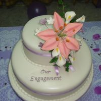 Engagement Cake With Sugar Flowers