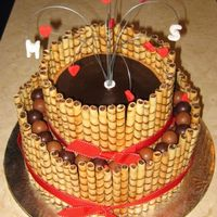 "39Th - Marlene & Shaun's Wedding 'wine' Shower Cake Hazelnut Torte (8"" on 12""), with Chocolate Ganache & Mocha Buttercream Fillings, Mocha Buttercream Frosting, Chocolate..."