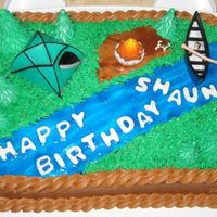 35Th Cake - Shaun's 39Th Bday Swiss Chocolate Hazelnut Cake with Chocolate Hazelnut Frosting, Fondant Trees & Lettering, Green White Chocolate Frosting Grass, Blue...