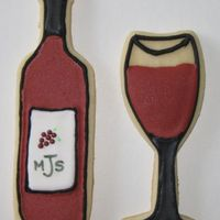 36Th Marlene's Wedding 'wine' Shower Cookies Almond 'No Fail Sugar Cookies' with Antonia's Almond Royal Icing- Amifsud's Design- Not the colour I was going for, but...