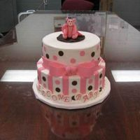 Pink And Brown Baby Shower 10 inch and 8 inch gumpaste bear with fondant accents ices in buttercream