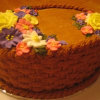 Course Ii Final Cake This was sooo much fun! I love basketweave. Chocolate BC with RI flowers.