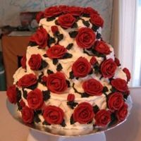 Red Climbing Roses Tiered Cake All the decorations are buttercream. I used a spaced basketweave pattern to make a trellis on the side of each cake and made the vines look...