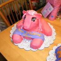 Pink My Little Pony I DID THIS FOR MY DAUGHTERS 1ST BIRTHDAY. SHE LOVED PICKING AT IT. I USED THE DUCK PAN FOR THE BODY AND THEN SHAPED THE BUTT, ARMS AND LEGS...