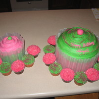 Cupcake I did this cake for my niece abbi's 1st b-day she loved her little one. It was so cute i used (4) 10in for the big one and (2) 6in for...