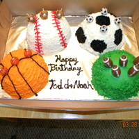 Sports Cake   THESE CAKES WERE FOR MY BOY'S BIRTHDAY PARTY. USED THE BALL CAKE PANS. VERY EASY CAKE. THEY LOVED THEM!!