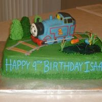 Thomas The Train Birthday  This cake was made for a 4th birthday. The shoot cake was frosted in buttercream with the pond made by dying piping gel blue. The fish are...