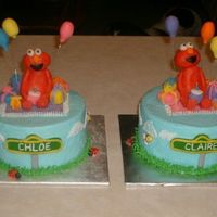 Elmo 2Nd Birthday  This cake was done for twin girls who are in love with elmo. The parents wanted each of them to have their own individual cake. The cakes...