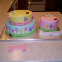 First Birthday! This cake was made for a little girls first birthday. The birthday girl had her own individual cake to dive into. They were both covered in...