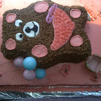 Teddy Bear Baby Shower This cake was for a last minute baby shower. Sheet cake with and teddy bear shape on top. All chocolate - cake, buttercream icing...all...