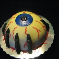 Horrible Eye!!!! Hi, This is a chocolate cake with BC filling and White Chocolate ganache I made for halloween. The finger is almond paste. thanks for...