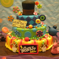 Charlie And The Chocolate Factory Birthday Cake Adapted from photo of Katy Perry's birthday cake customer liked - updated with elements from newer movie.