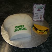 Chef's Hat With Taco Chef's hat is french vanilla pound cake covered with fondant - made in Wilton cupcake pan. Taco, lettuce and cheese are made from...