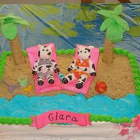 Cows On The Beach Gumpaste/ Fondant mix cows, accessories, palm trees and beach chairs. The rest is all buttercream and brown sugar sand. It was so hot here...