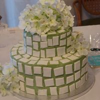 Cakes_009.jpg CSM. Jade BC with white fondant tiles. Flowers are silk. Another dummy cake for the bridal show.