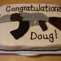 Gun Cake This was made for hubby's co-worker. AR-15 was was hand drawn. TFL!