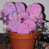 "Girly Cookie Bouquet MMF, RI accents. Flip flop and ""T"" cookies for my niece Tessa."