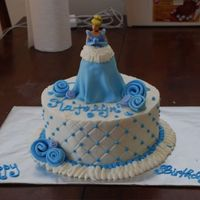 Cinderella Birthday Cake Not my best, BC icing, fondant accents