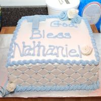Boys Baptism Cake I got the inspiration from CC. I forget the person's name, I'm sorry! It's a WASC cake, with sugarshack's icing,...