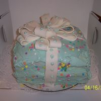 Gift Box Cake My 1st gift box cake and fondant bow. The cake is actually 4 layers inside.