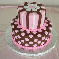 Pink And Brown Baby Shower Cake   Chocolate cake with buttercream icing covered in pink and brown fondant.