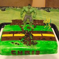 Incredible Hulk Cake Birthday Cake for my 4 year old nephew...He was so excited when he saw the cake---Everyone just loved it! I put a lot of hours into it!