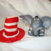 Dr. Seuss Hat And Elephant Fondant mixed with gumpaste sprayed with silk white dust.