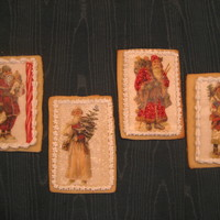 Antique Santa Postcards Butter cookies decorated with Toba's glace, wafer paper printed with antique Santa postcards, royal, and edible glitter and paints.