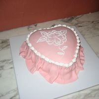 Heart Cake With Draped Fondant And Brush Embroidery