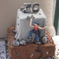Rockclimber Reaches 30! Base tier is 3 layers iced in dark chocolate ganache. Top tier is marbelinzed fondant. Large rocks, figure, numerals are gumpaste. Small...