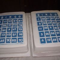 Bingo Night Cake  Second of three due in three days. I was not happy with this one at all. One of the cakes broke in half and I didn't have time to...