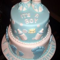 Man's Baby Shower Cake  First of 3 cakes due one day apart of each other. Ordered for a man's baby shower (never heard of it). I got a call from the person...