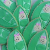 Baby Shower Sweet Peas my first attempt at cookies. Vanilla nad almond flavor cookies