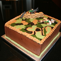 "Call Of Duty - Modern Warfare This cake is a double 10"" square covered in buttercream. I used little cookies for the sandbags. I wanted to use red gel for blood on..."