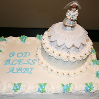 "First Communion 9x13 sheet cake and 6"" round cake decorated with buttercream."