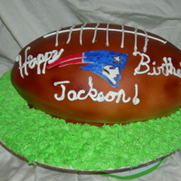 Football Cake I made this for my son's birthday. I used the football pan and the covering was MMF. TFL!Jen...