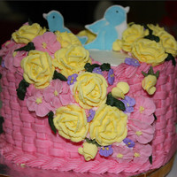 Basket Weave Cake This is my basket weave cake class 2, decorate with butter cream icing and royal icing flowers