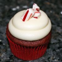 Candy Canes And Cupcakes Red velvet cupcakes topped with white chocolate peppermint cream cheese frosting, with pieces of candy canes for a little extra peppermint...