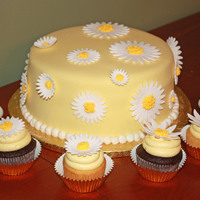 "Daisy Retirement Cake With Matching Cupcakes This cake and the cupcakes are ""Pink Cake Box"" designs. It seemed perfect for a colleague's retirement party as the daisy is..."