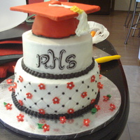 Graduation Cake For my sisters high school graduation. Cap made from half of ball pan, I pressed fondant through garlic press to get tassle effect. Fondant...