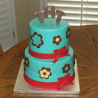 Teal Bridal Shower Cake
