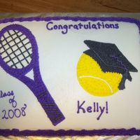 Tennis Graduation Cake 1/2 sheet all b/c for a tennis player at McKendree College.