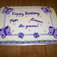 100_1036.jpg a birthday cake made for an 80 year old woman who is known as Mom, Grams, and Gr-grams. The pattern matched the napkins they were using for...