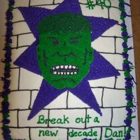 Incredible Hulk Birthday Cake   1/2 sheet all b/c for a man who hasn't grown up:)
