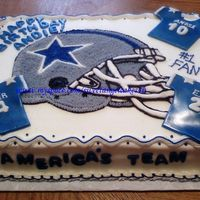 Cowboys Sheet Cake I did this cake for a friend of mine who's daughter is a huge Cowboy fan. The jersies are done in fondant and the helmet is done in...
