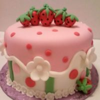 Strawberry Theme Smash Cake All fondant decoration including strawberries