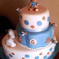 Teddy Bears And Bees All fondant cake with hand modeled figures and baby shoes