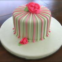 Pink And Green Stripes... Peggy Porschen inspired cake. Red velvet with white chocolate cream cheese icing. 6 inch round.
